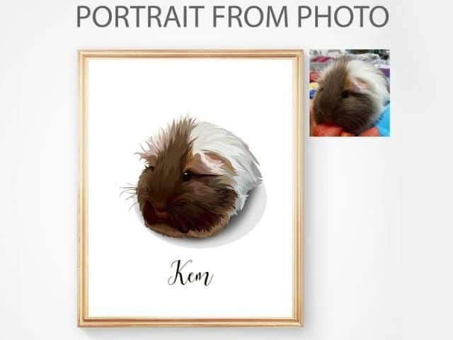 ESTY Custom Guinea Pig Portrait For Guinea Pig Lover